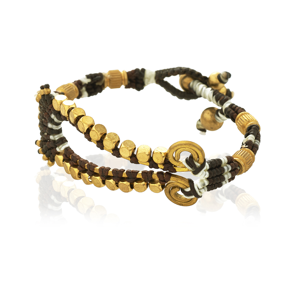 Black Seed Beads & Brass Teardrop Shape Cotton Wax Bracelet, Jewelry for Women, Girls & Men