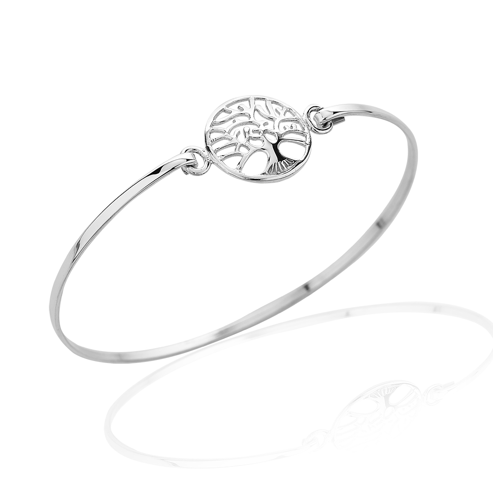 925 Sterling Silver Tree of Life Wrap Bangle Bracelet