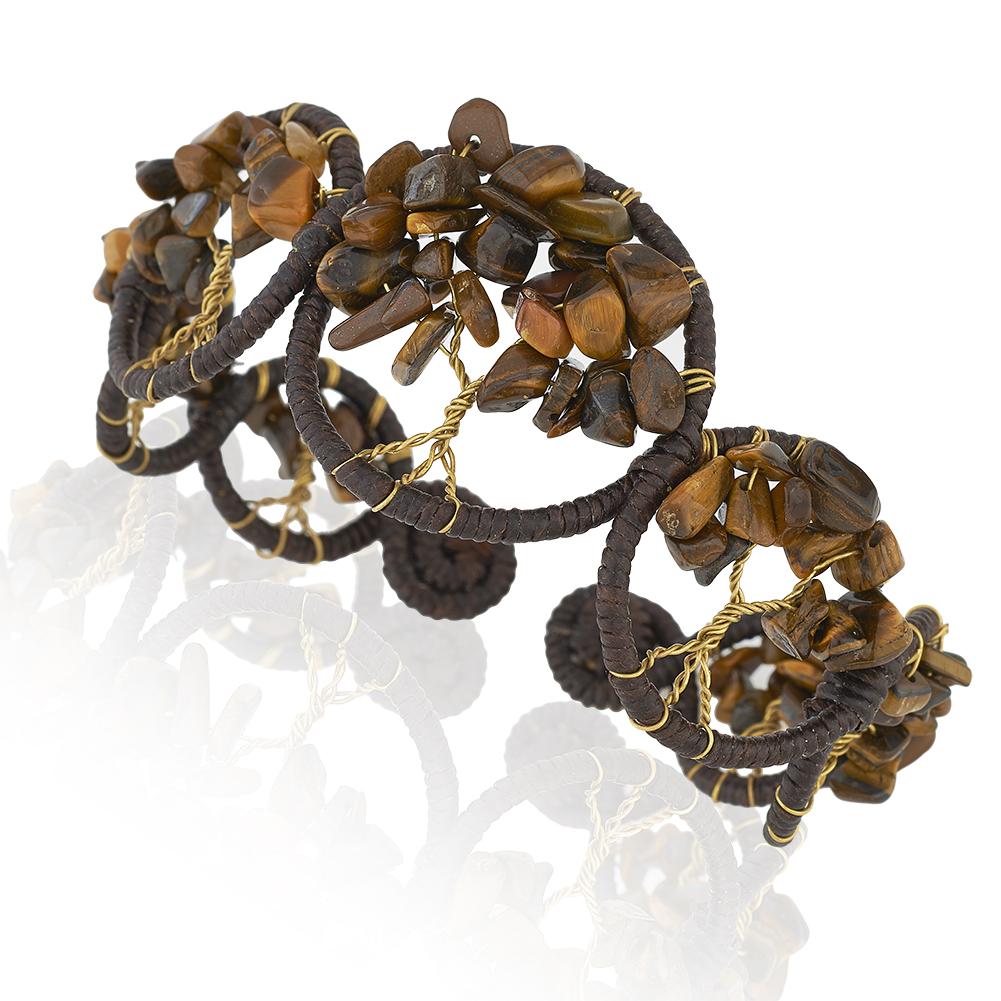 Cotton Wax Handmade and Brass Tree of Life Brown Tiger Eye Gemstone Cuff Bracelet