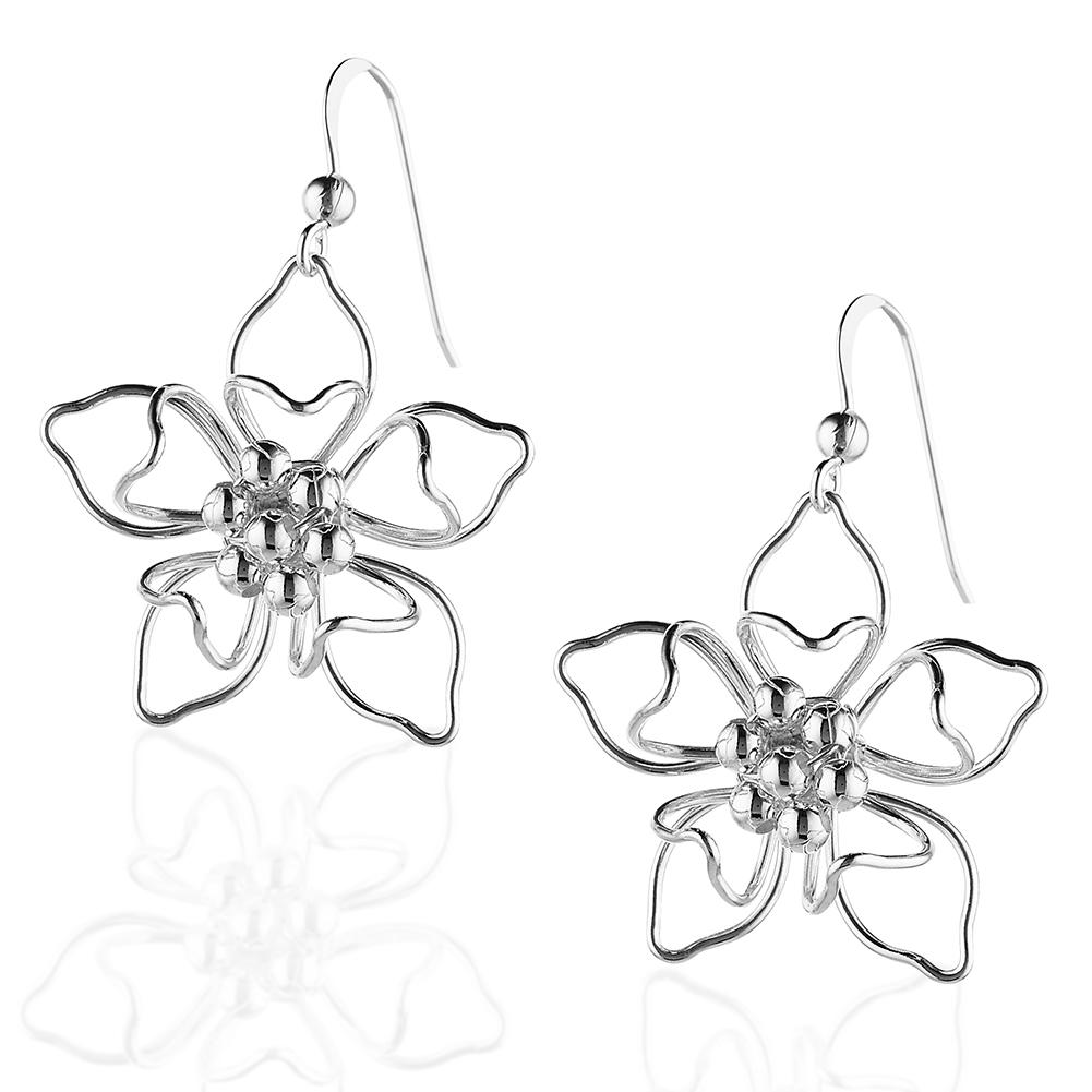 5 Petal Open Flower Sterling Silver Earrings, Nickel Free Jewelry For Women, Girls