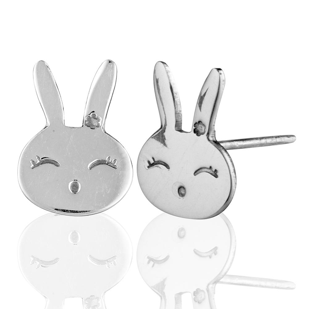 Children's 925 Sterling Silver Bunny Rabbit Face Stud Earrings, Nickel Free
