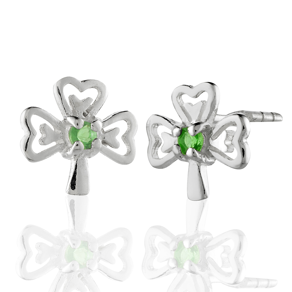 Children's 925 Sterling Silver Green Cubic Zirconia CZ Three Leaf Clover Shamrock Stud Earrings