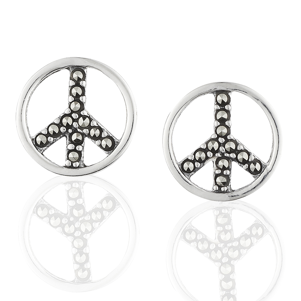 Children's 925 Sterling Silver Marcasite Peace Sign Stud Earrings
