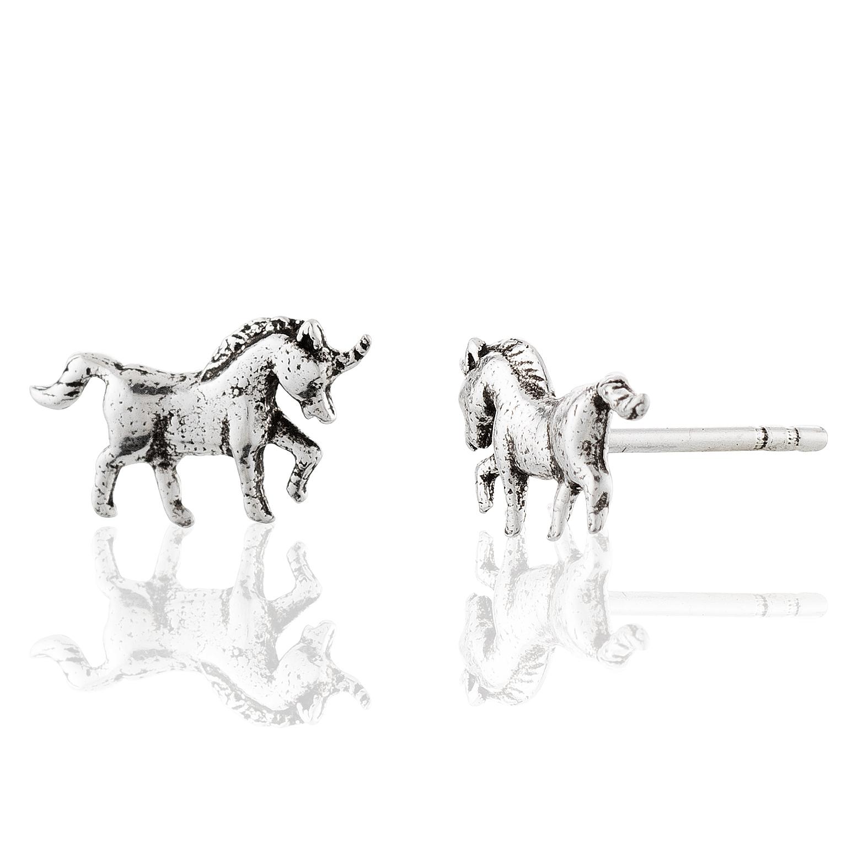 Children's 925 Sterling Silver Unicorn Stud Earrings
