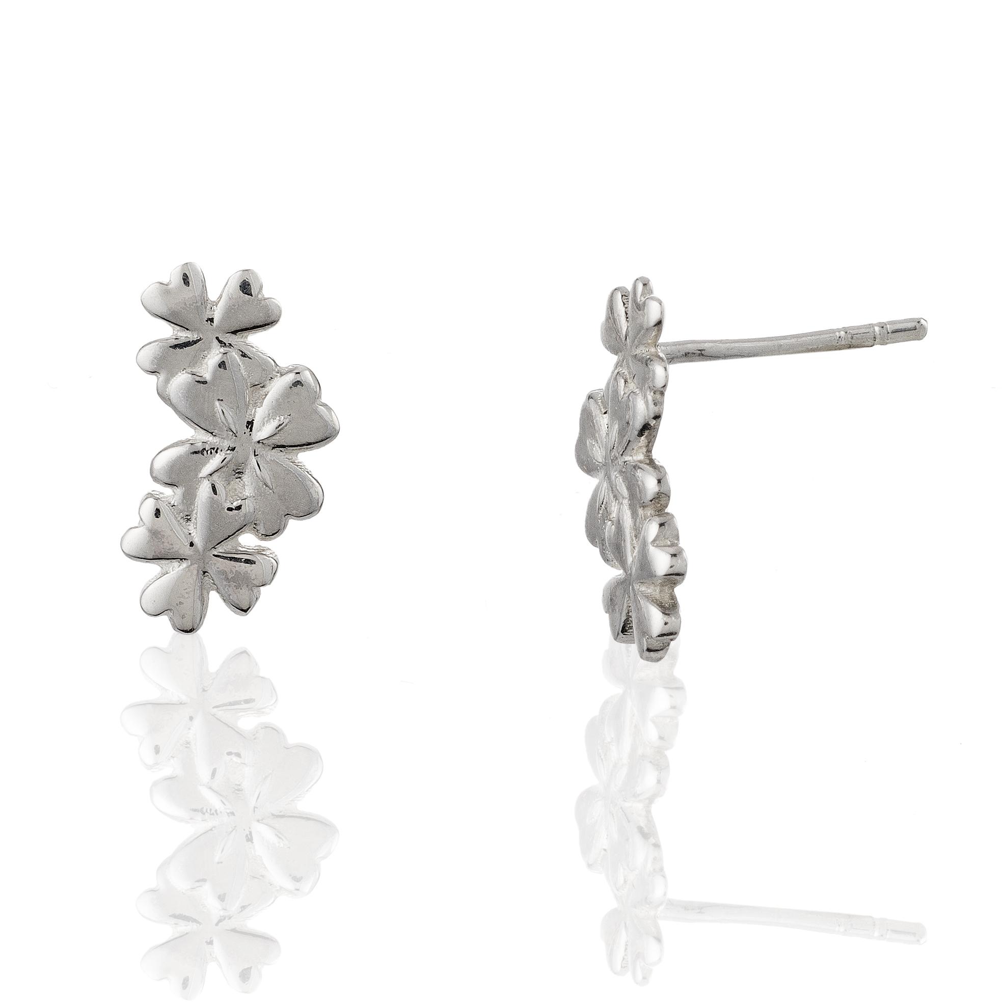 Children's 925 Sterling Silver Cascading Four Leaf Clover Shamrock Stud Earrings