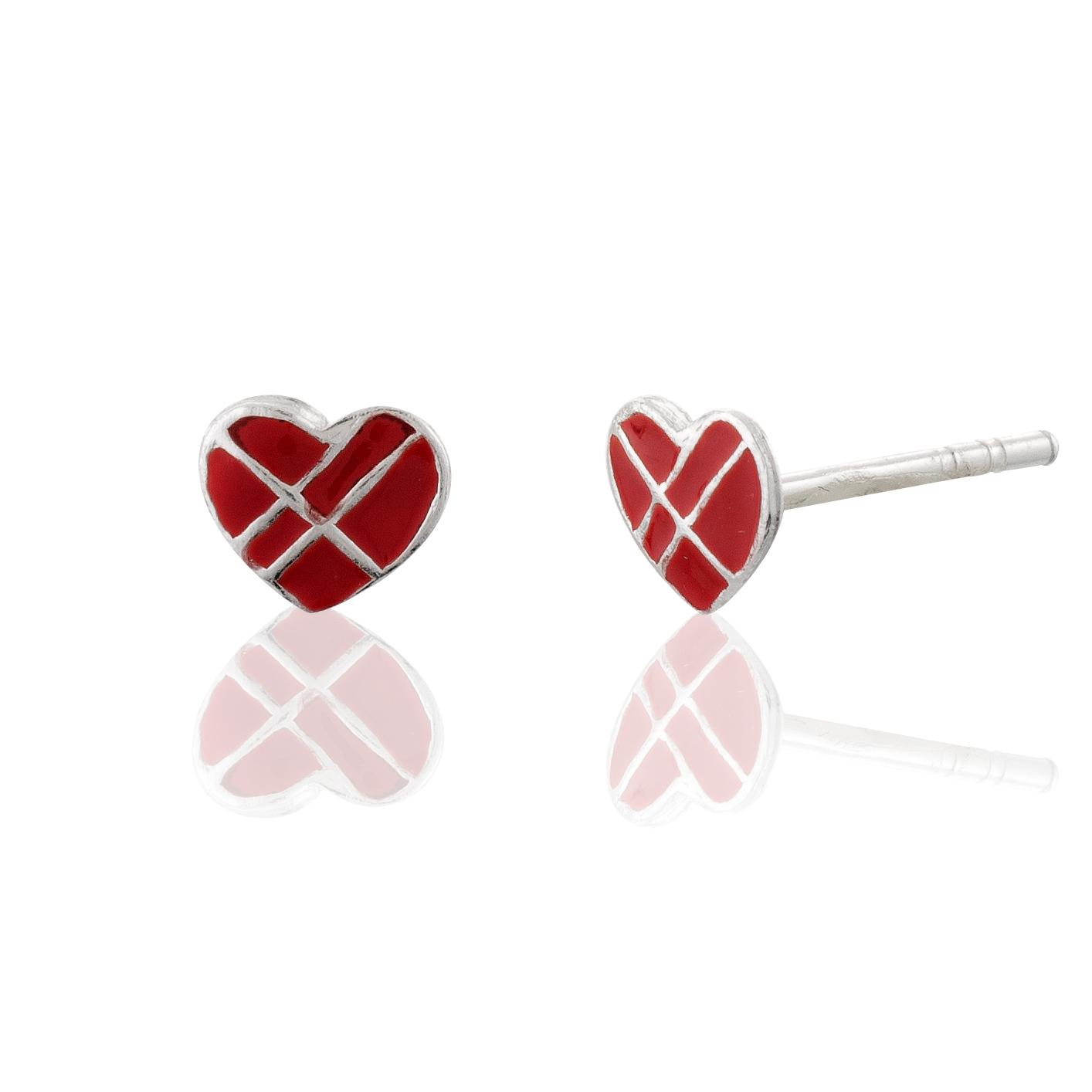 Children's 925 Sterling Silver Red Cross my Heart Lined Stud Earrings