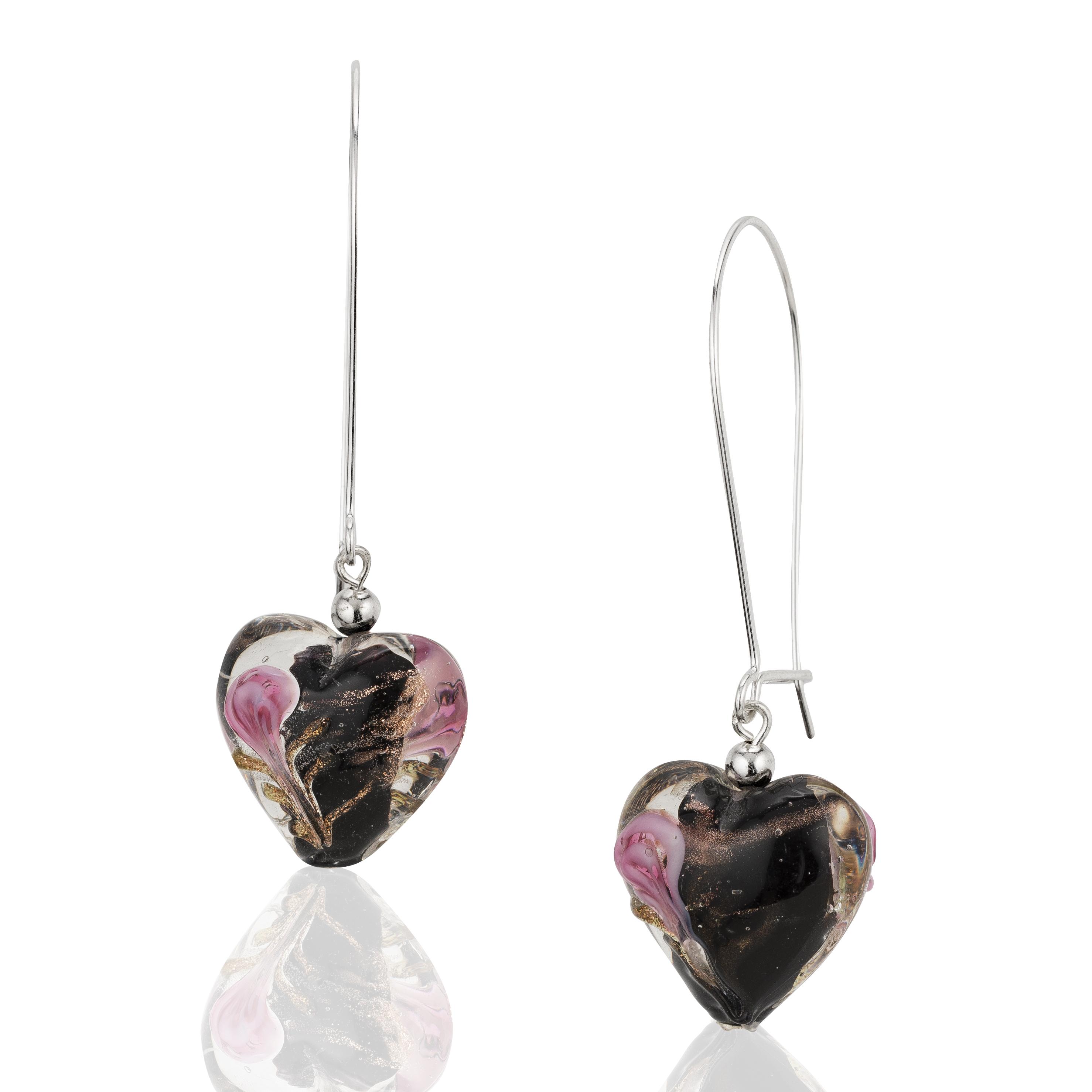 925 Sterling Silver, Glass Heart Dangle Earrings, Love Fashion Jewelry For Women, Girls