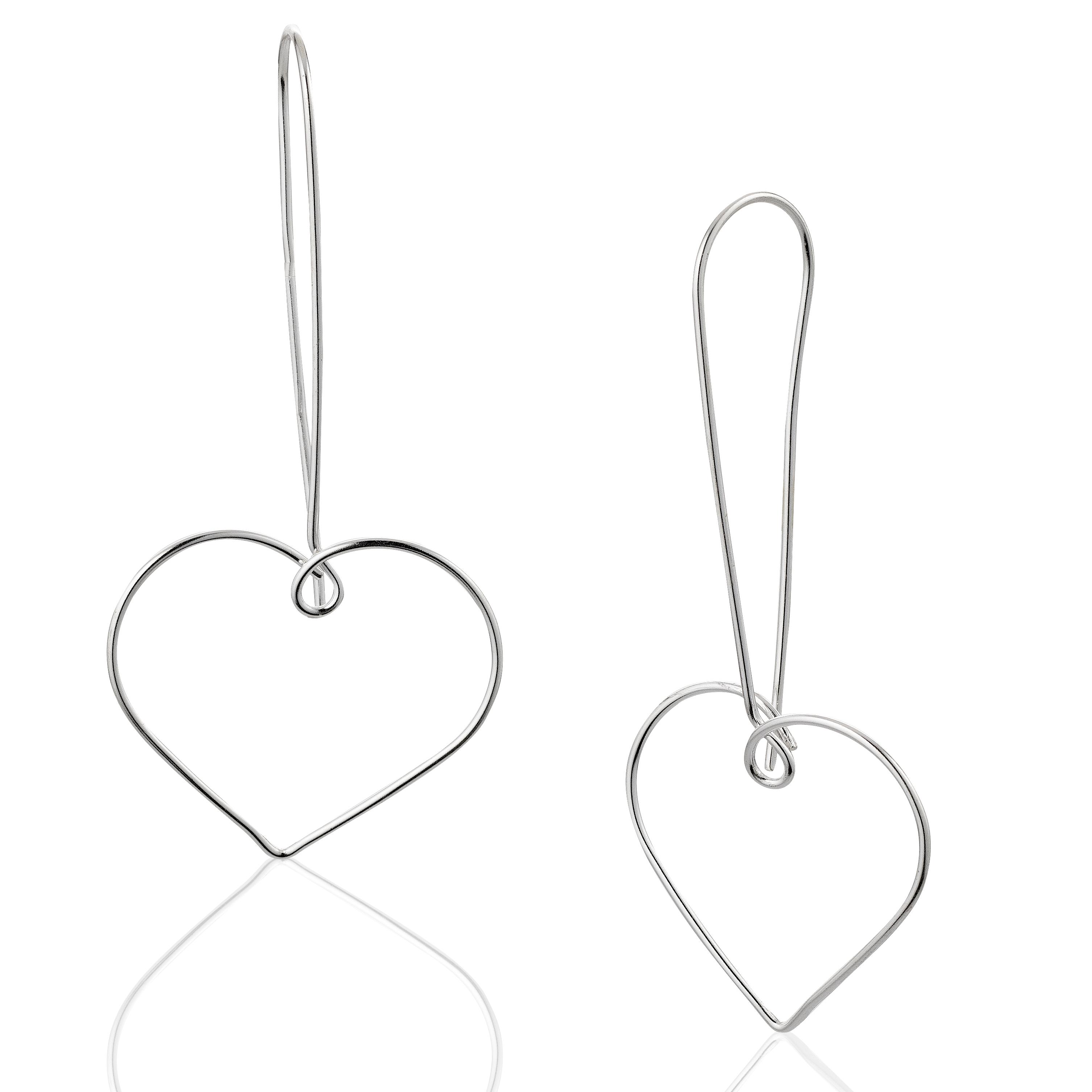 Pure Silver, Anti-Tarnish Thin Line Dangle Heart Earrings, Love Jewelry, Women, Teens, Girls