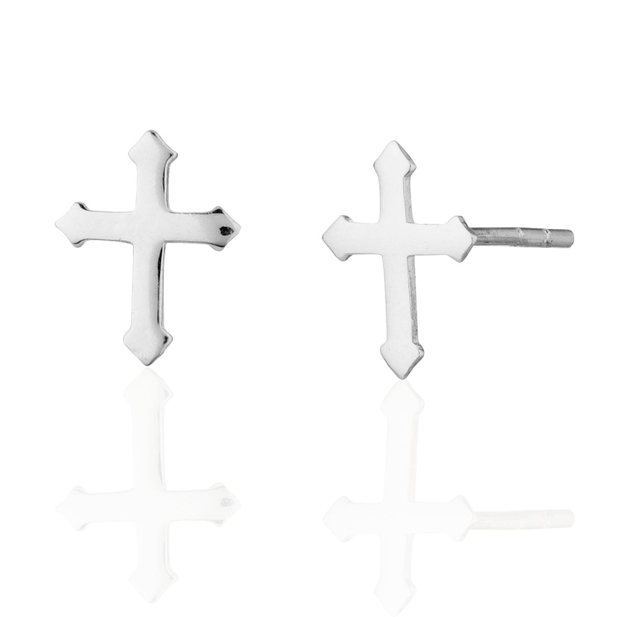 Children's 925 Sterling Silver Cross Stud Earrings