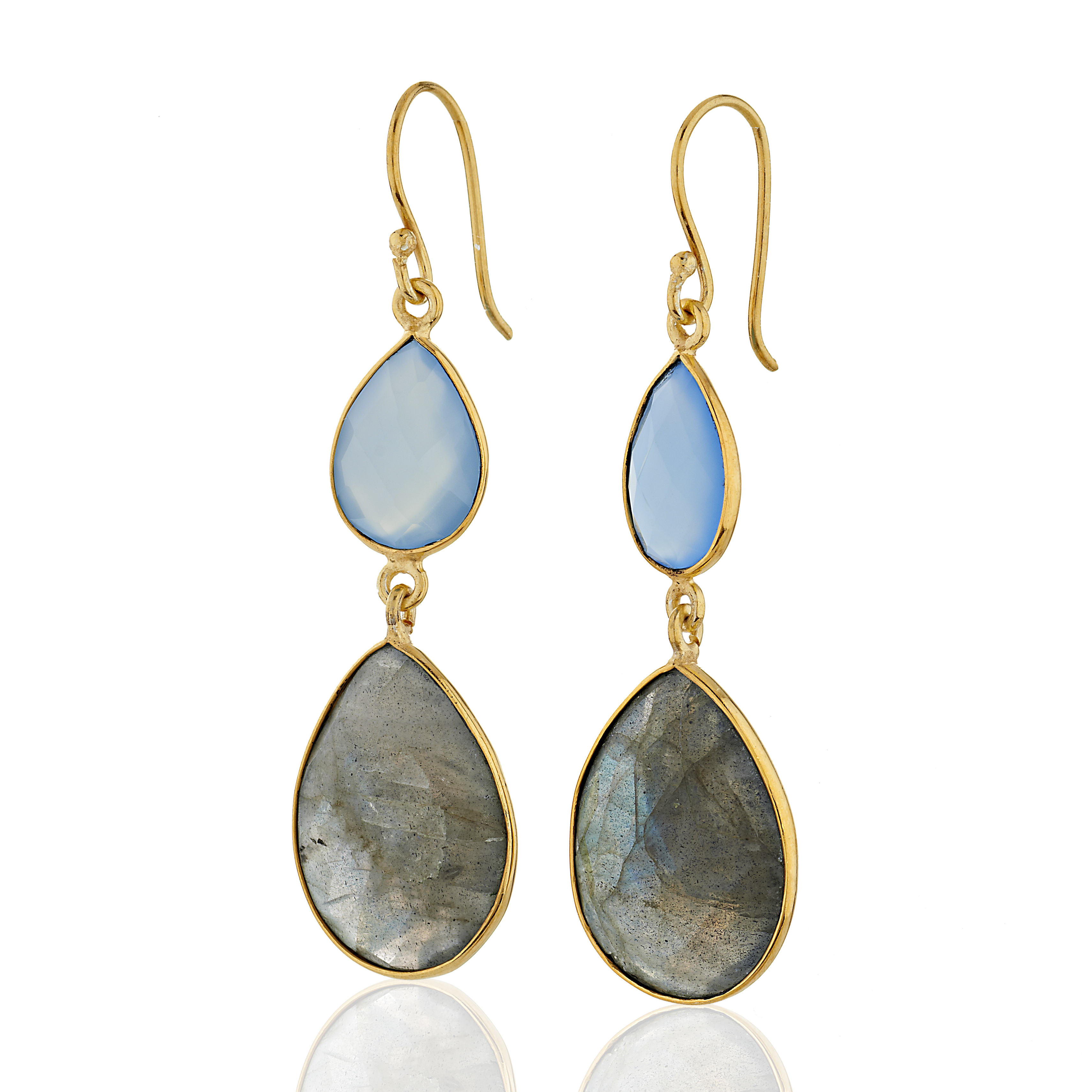 18K Gold-Plated Blue Chalcedony and Labradorite Gemstone Dangle Earrings