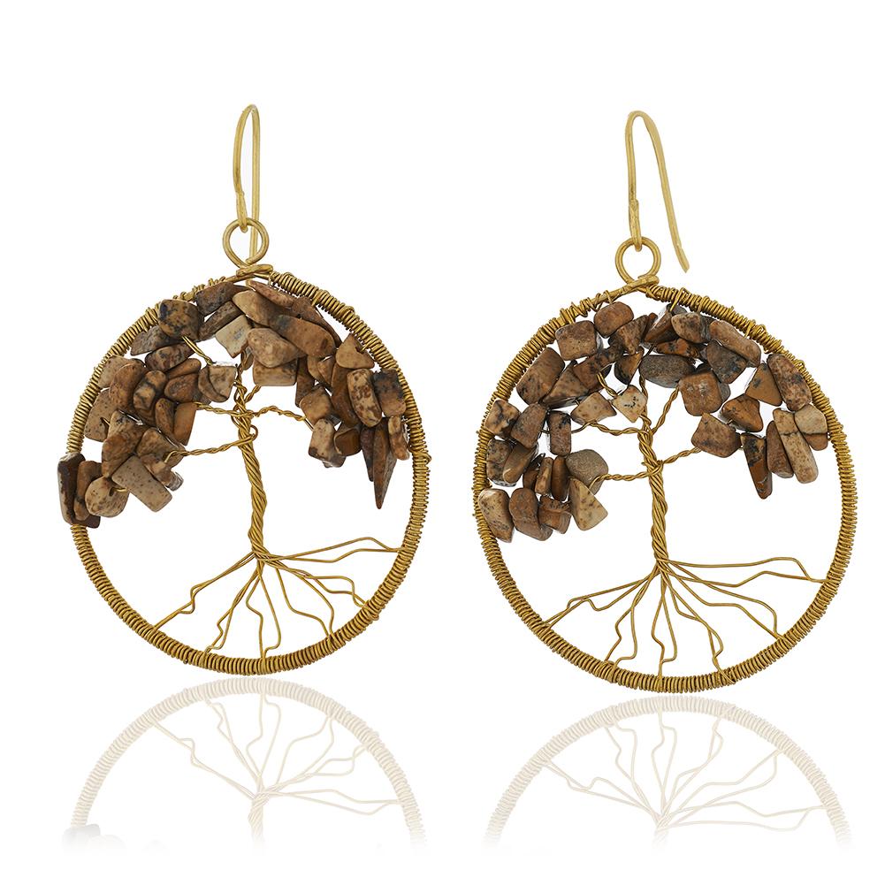 Handmade Brass Tree of Life Beaded Brown Jasper Gemstone Dangle Earrings