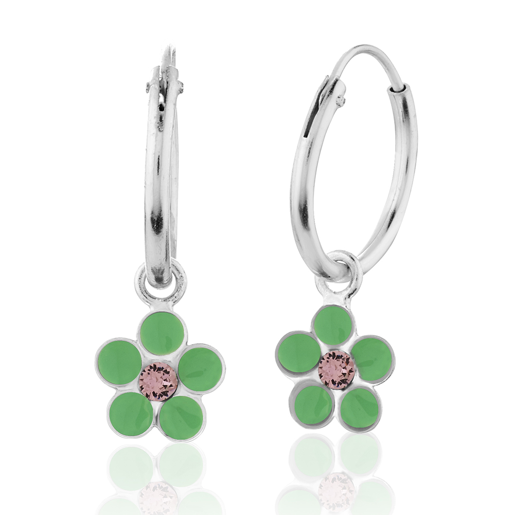 Children's 925 Sterling Silver Green Flower Hoop Earrings