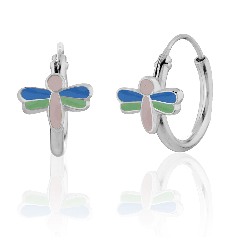 Children's 925 Sterling Silver Green, Blue, Pink Dragonfly Hoop Earring, Girls Nature Jewelry