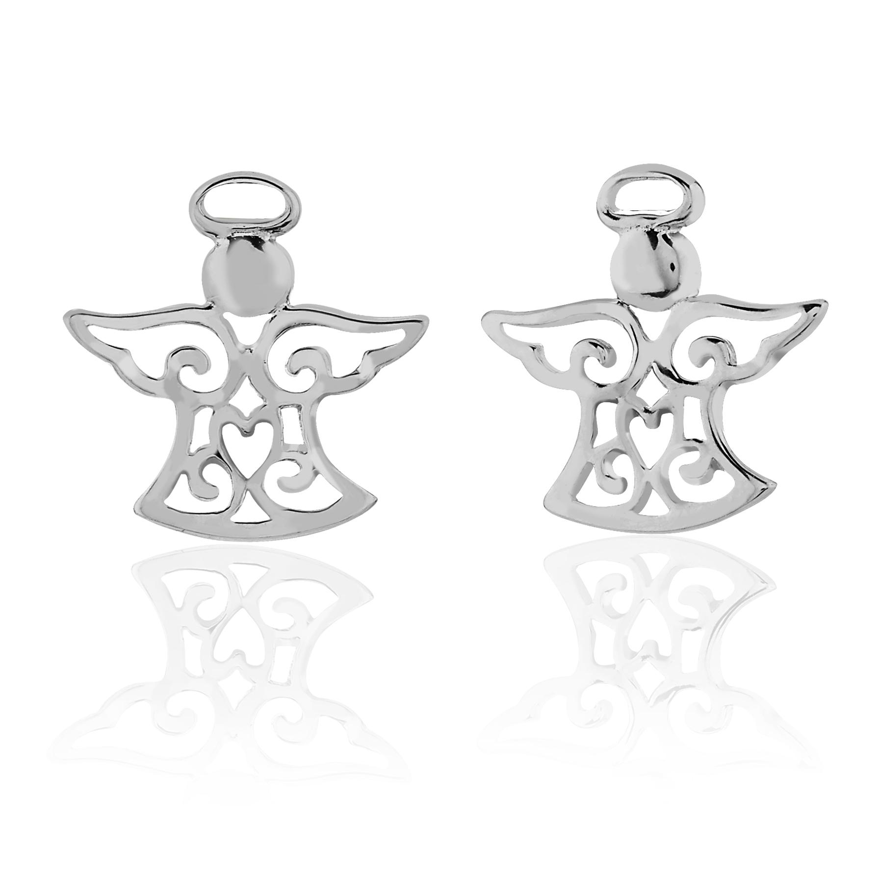 Children's 925 Sterling Silver Filigree Angel Stud Earrings, Nickel Free