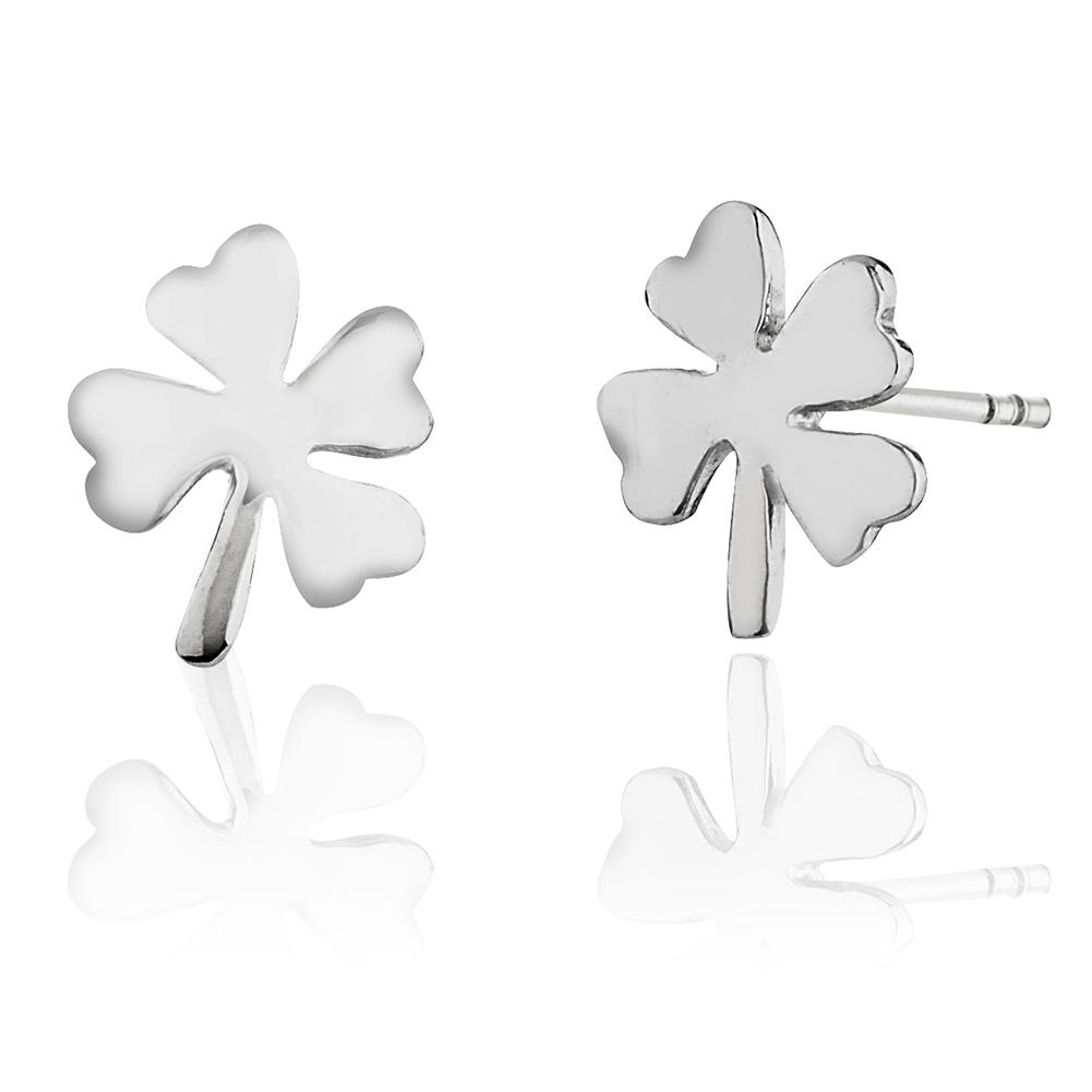 Children's 925 Sterling Silver Four (4) Leaf Clover Shamrock Stud Earrings