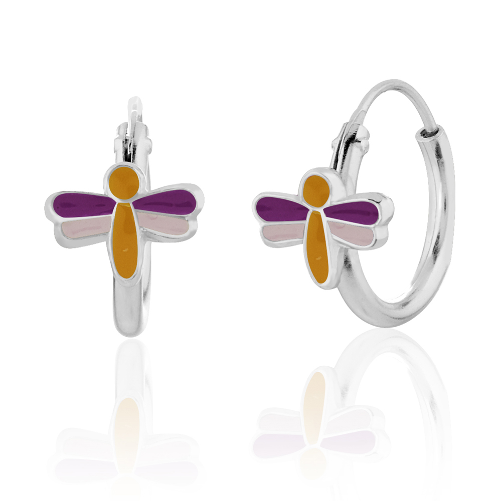 925 Sterling Silver Dragonfly w/ Yellow, Purple & Pink Enamel Hoop Earrings, Girls Nature Jewelry