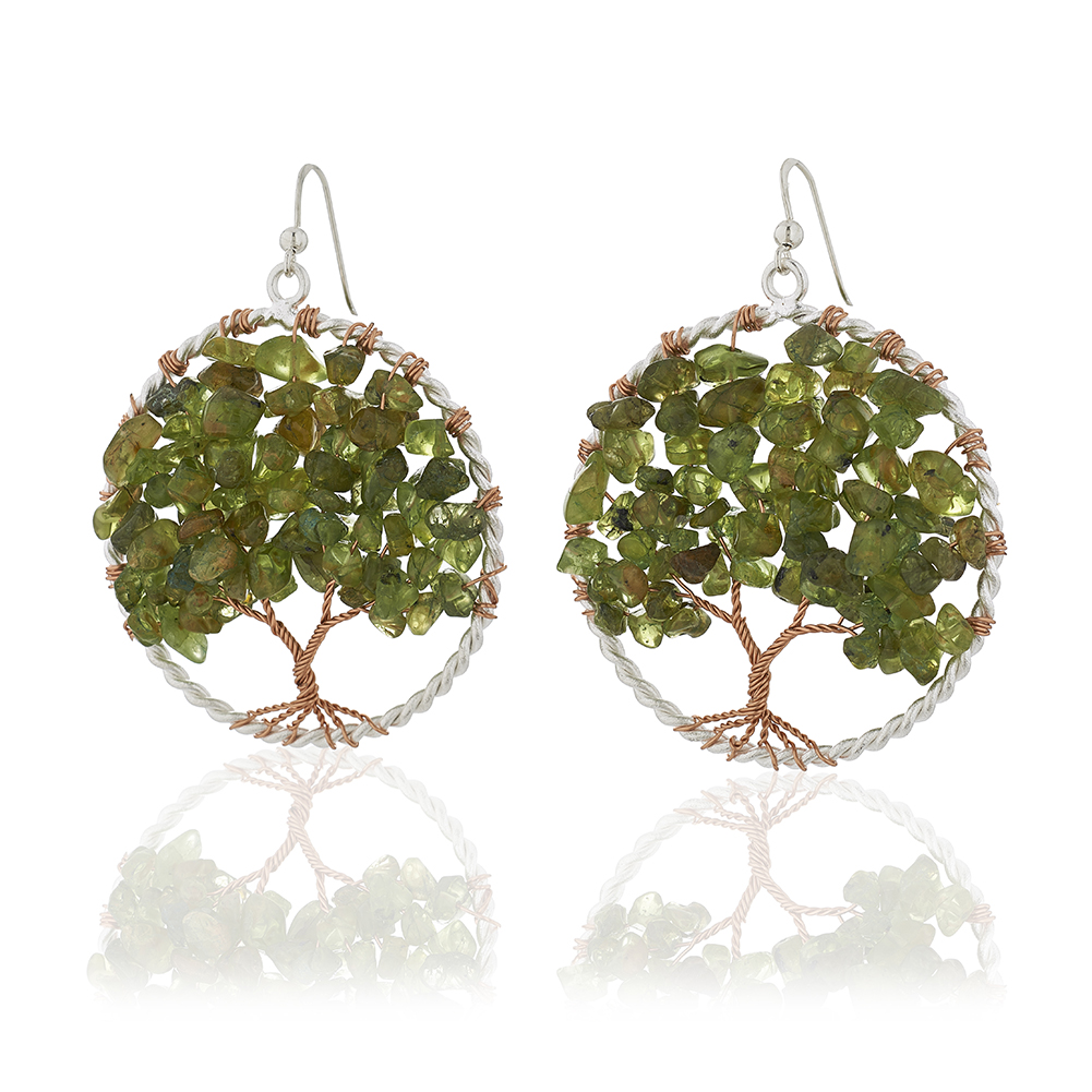 Handmade Silver-Plated Copper Trunk Tree of Life Green Peridot Gemstone Bead Dangle Earrings