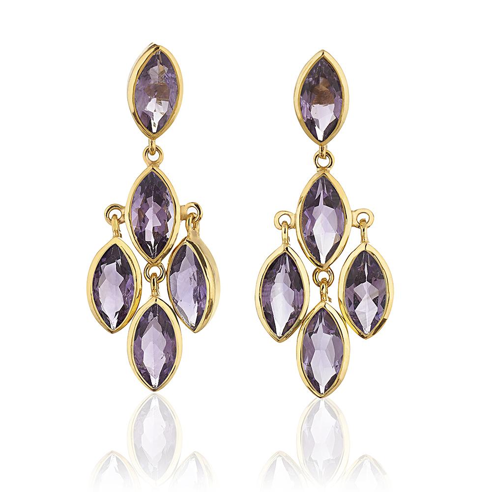 18K Gold-Plated Multi Marquise Chandelier Style Purple Amethyst Gemstone Dangle Earrings