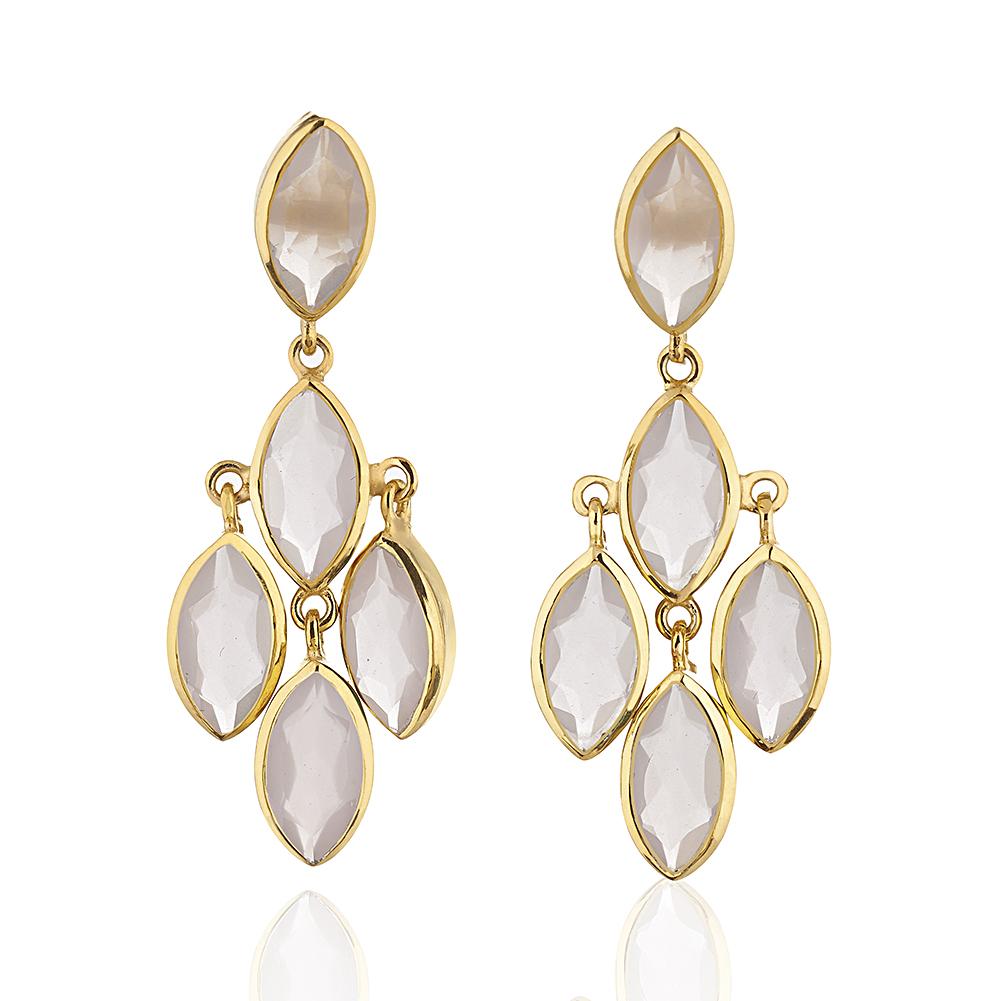 18K Gold-Plated Multi Marquise Chandelier Style Pink Rose Quartz Gemstone Dangle Earrings