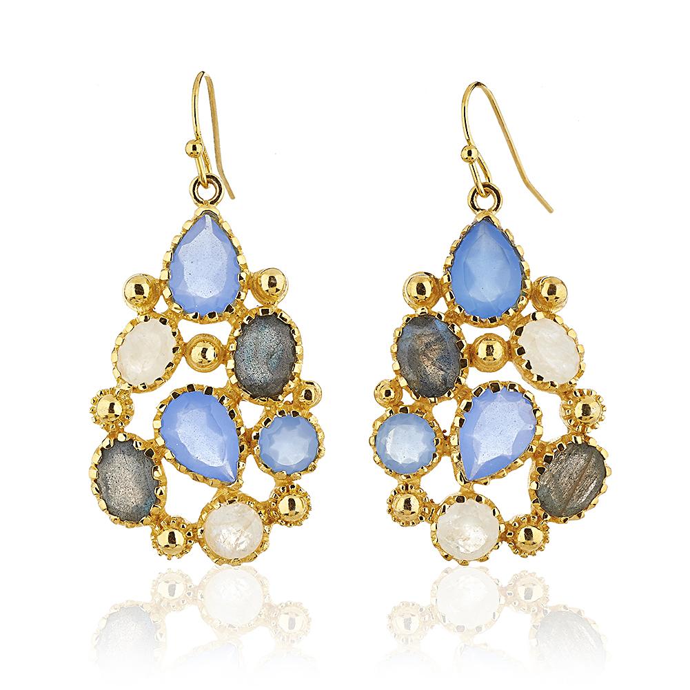 18K Gold-Plated Blue Chalcedony, Labradorite, and Moonstone Gemstone Teardrop Dangle Earrrings