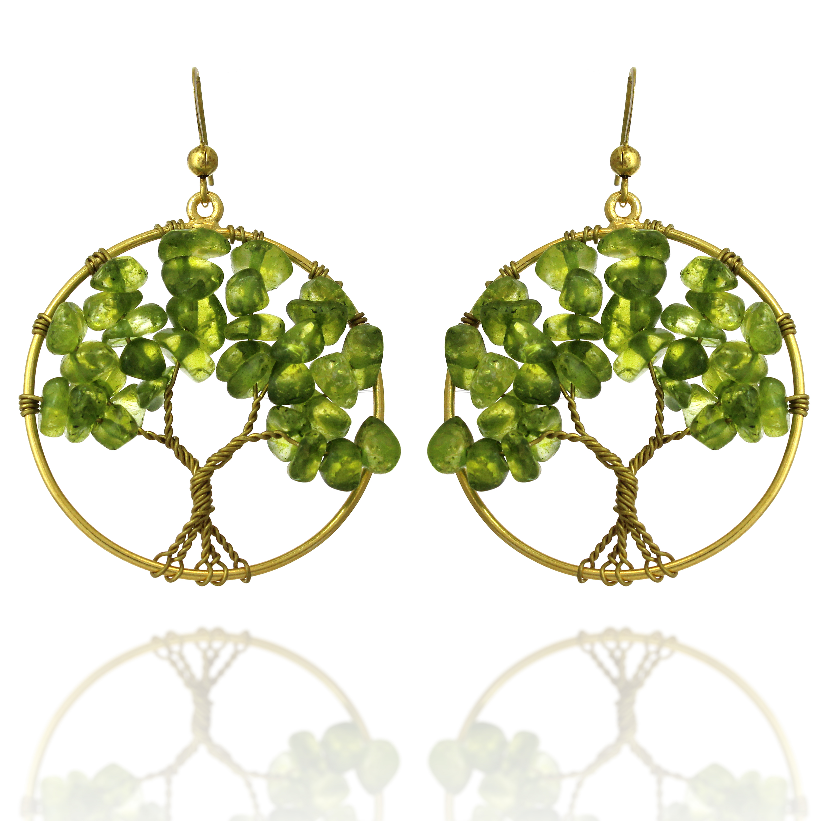 Handmade Gold-Plated Brass Dyed Green Glass Beads Tree of Life Dangle Earrings