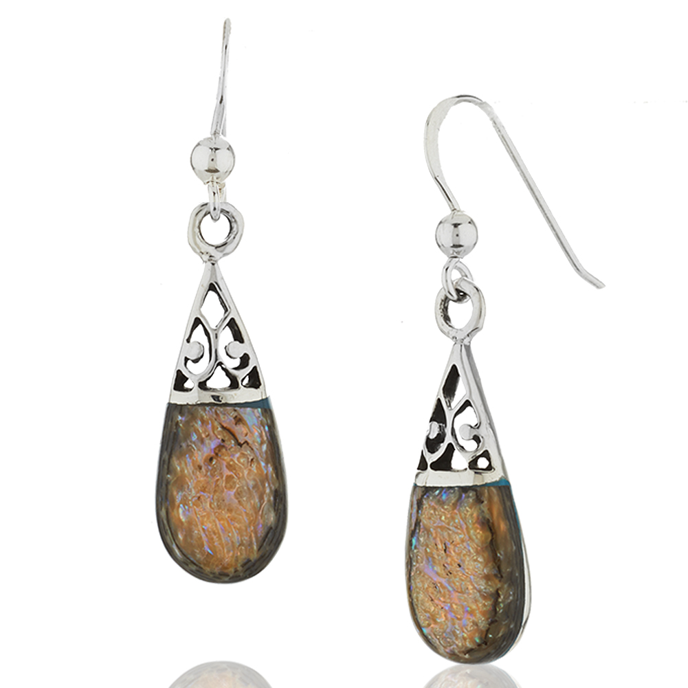 925 Sterling Silver Filigree Tear Drop Natural Shell Dangle Earrings