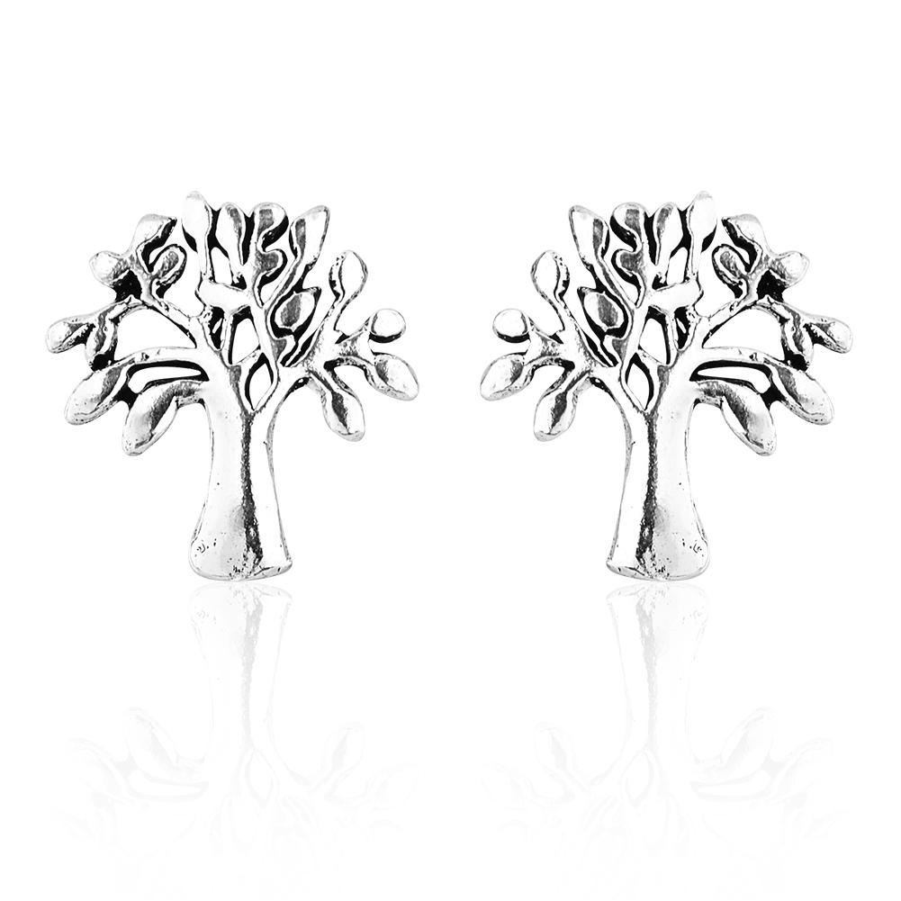 925 Sterling Silver Full Bloom Tree of Life Stud Earrings