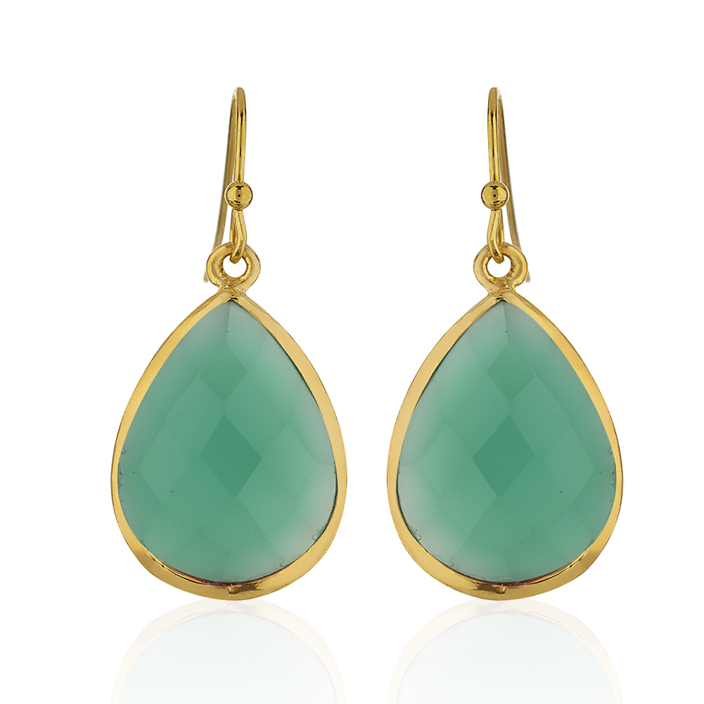18K Gold-Plated Rims Pear Shape Green Onyx Gemstone Dangle Earrings