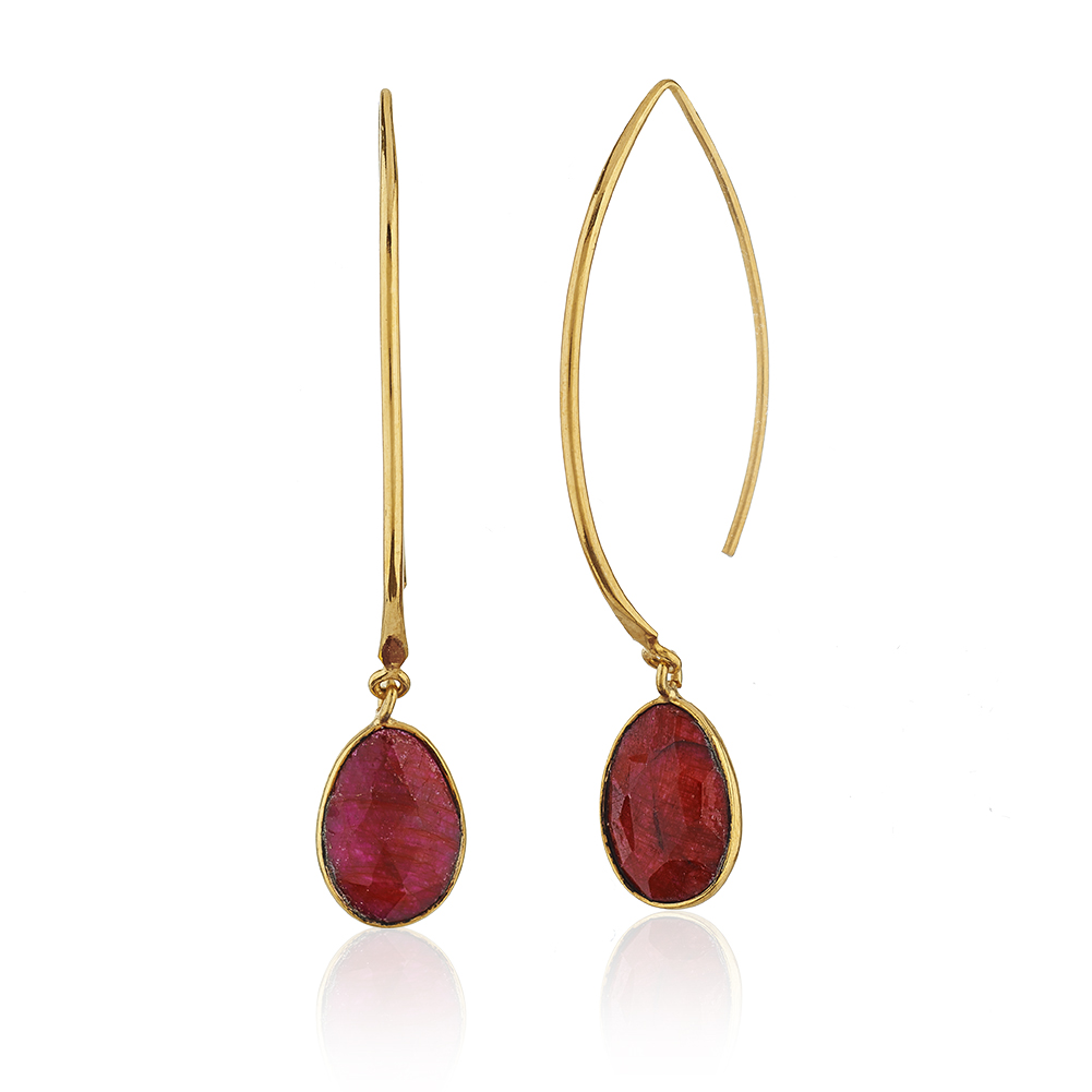 18K Gold-Plated Rims Long Drop Faceted Red Ruby Gemstones Dangle Earrings
