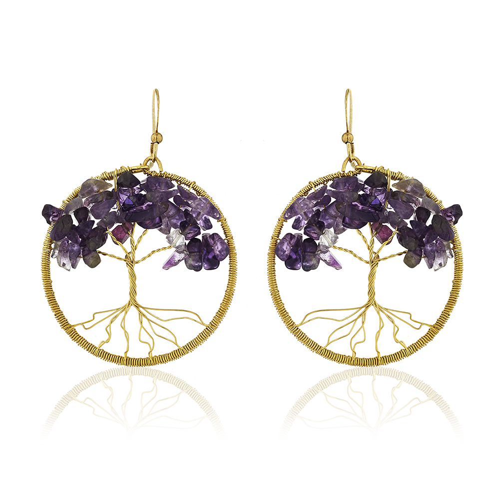 Handmade Brass Tree of Life Beaded Purple Amethyst Gemstone Dangle Earrings