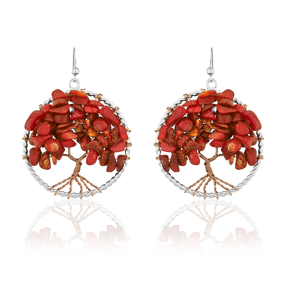 Handmade Silver-Plated Copper Trunk Tree of Life Red Coral Bead Dangle Earrings