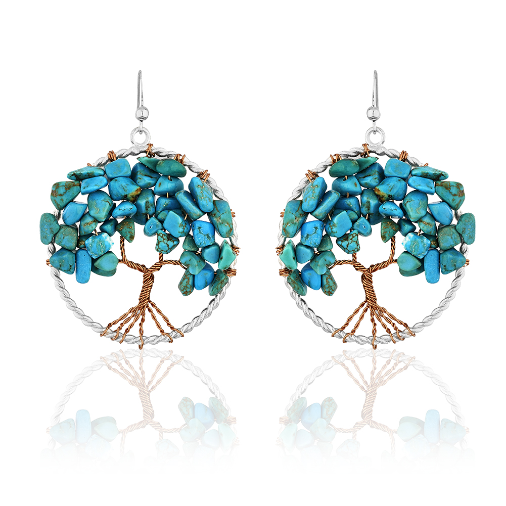 Handmade Silver-Plated Copper Trunk Tree of Life Blue Turquoise Gemstone Bead Dangle Earrings