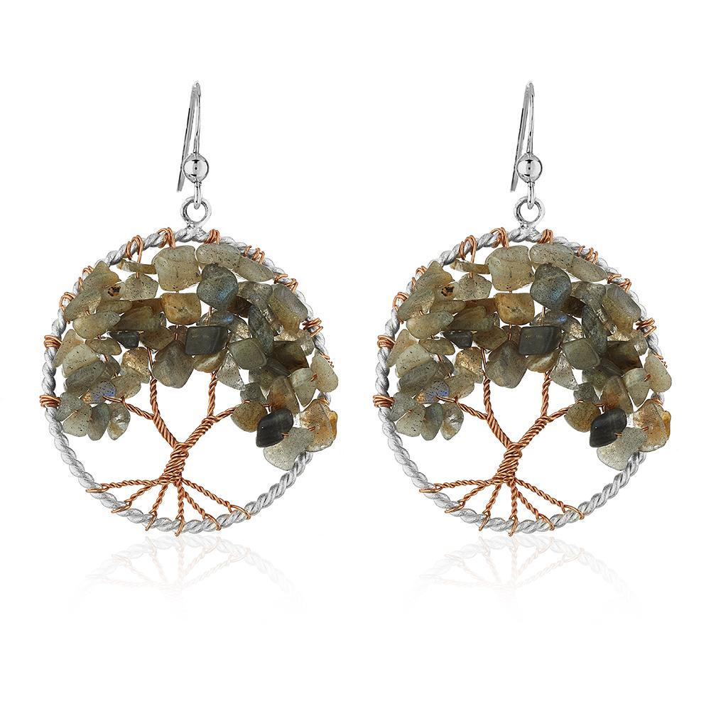 Silver-Plated Handmade Copper Trunk Tree of Life Labradorite Gemstone Bead Dangle Earrings