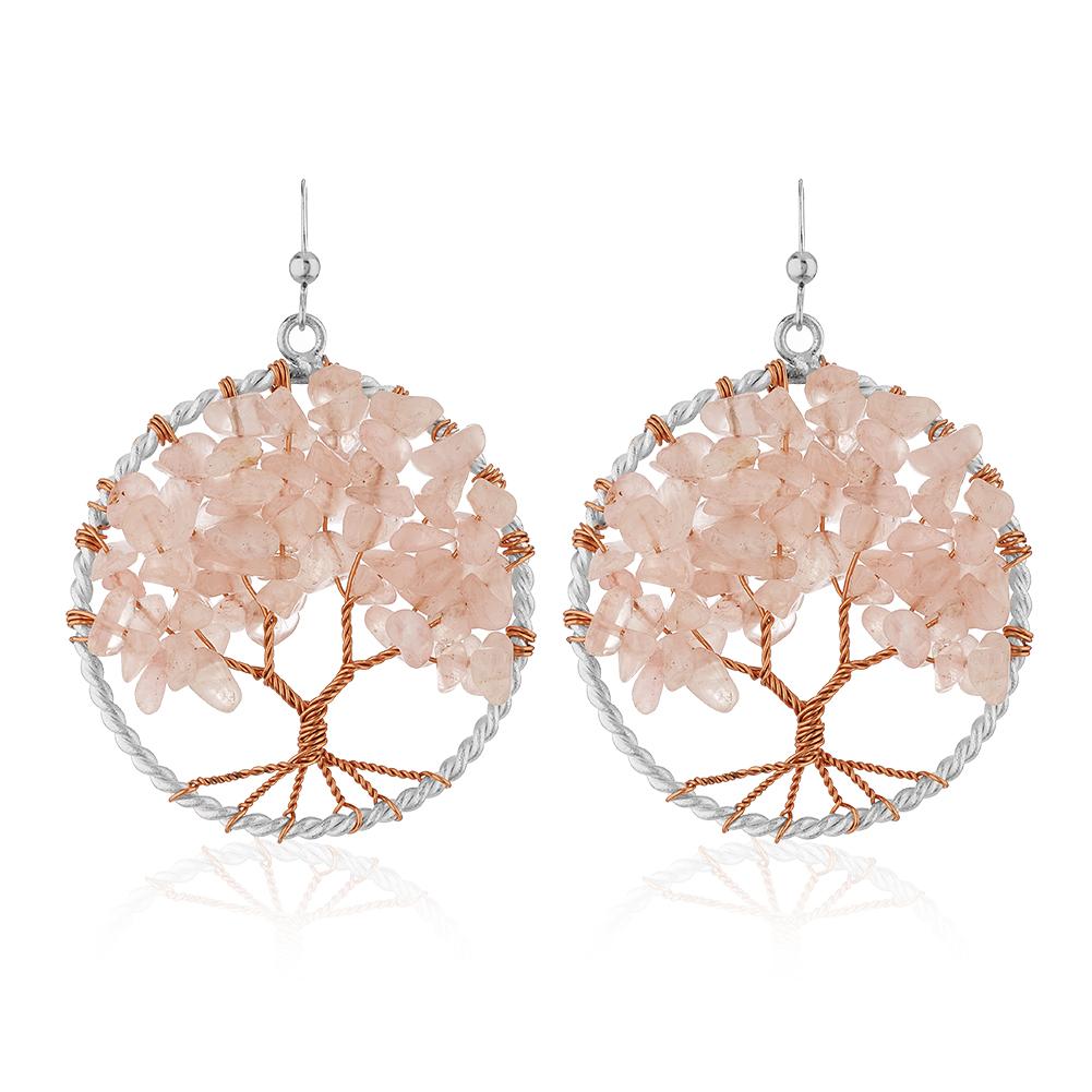 Silver-Plated Handmade Copper Trunk Tree of Life Pink Rose Quartz Gemstone Bead Dangle Earrings