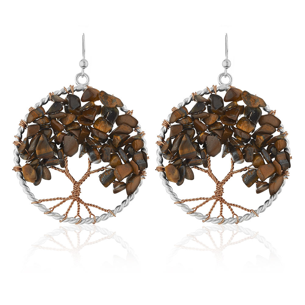 Silver-Plated Handmade Copper Trunk Tree of Life Tiger-Eye Gemstone Bead Dangle Earrings