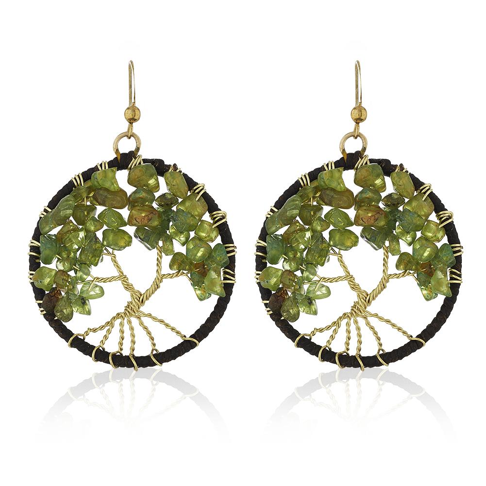 Gold-Plated Brass Cotton Wax Handmade Tree of Life Peridot Gemstone Dangle Earrings