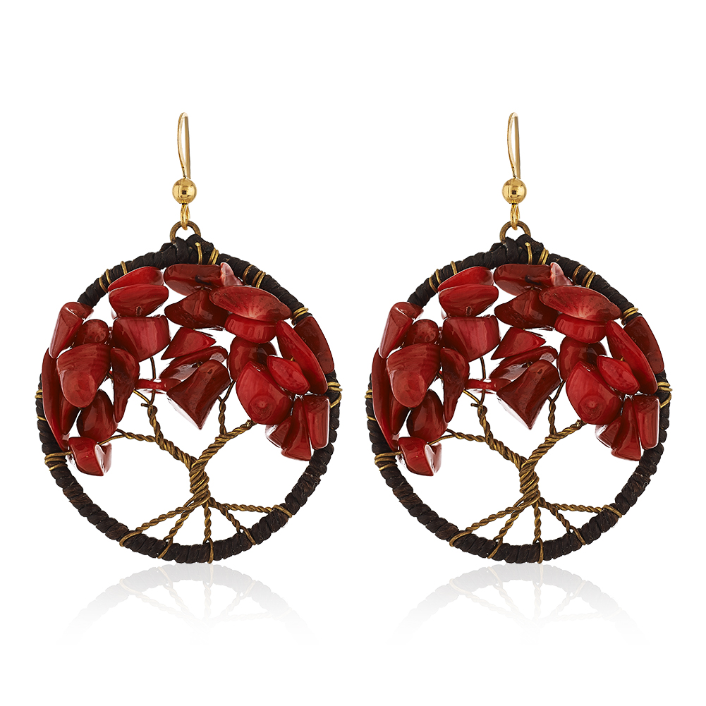 Gold-Plated Brass Handmade Cotton Wax Tree of Life Red Coral Bead Dangle Earrings
