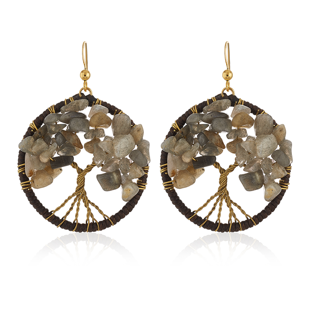 Gold-Plated Brass Handmade Cotton Wax Tree of Life Labradorite Gemstone Bead Dangle Earrings