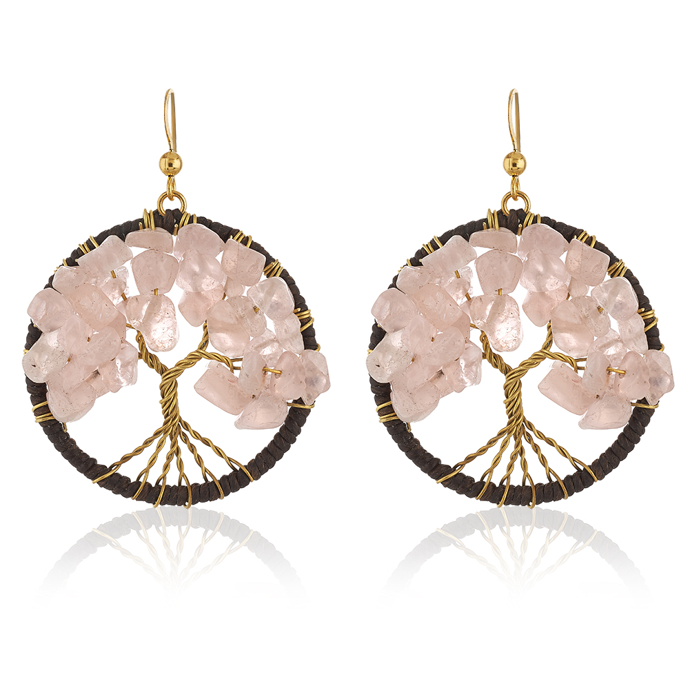 Gold-Plated Brass Handmade Cotton Wax Tree of Life Pink Rose Quartz Gemstone Bead Dangle Earrings