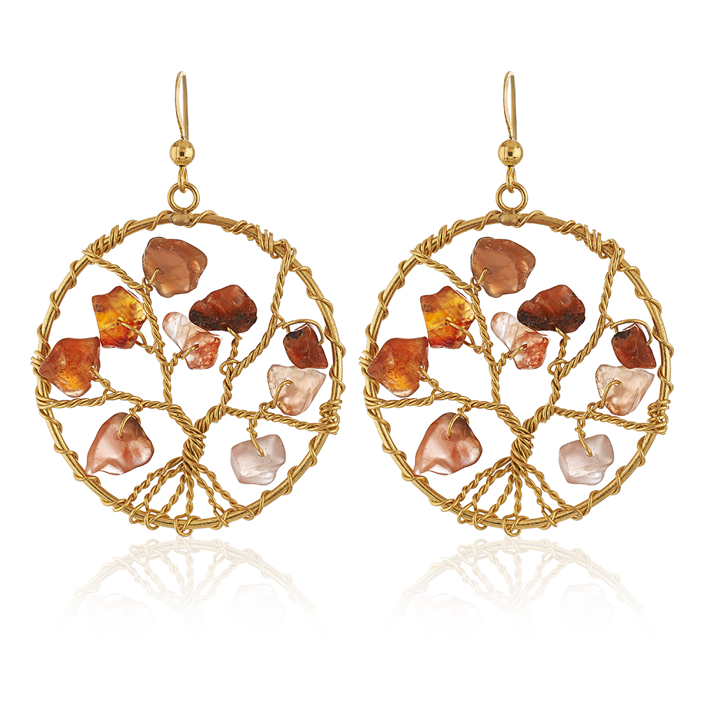 Handmade Gold-Plated Tree of Life Red Carnelian Gemstone Beads Dangle Earrings, 58mm