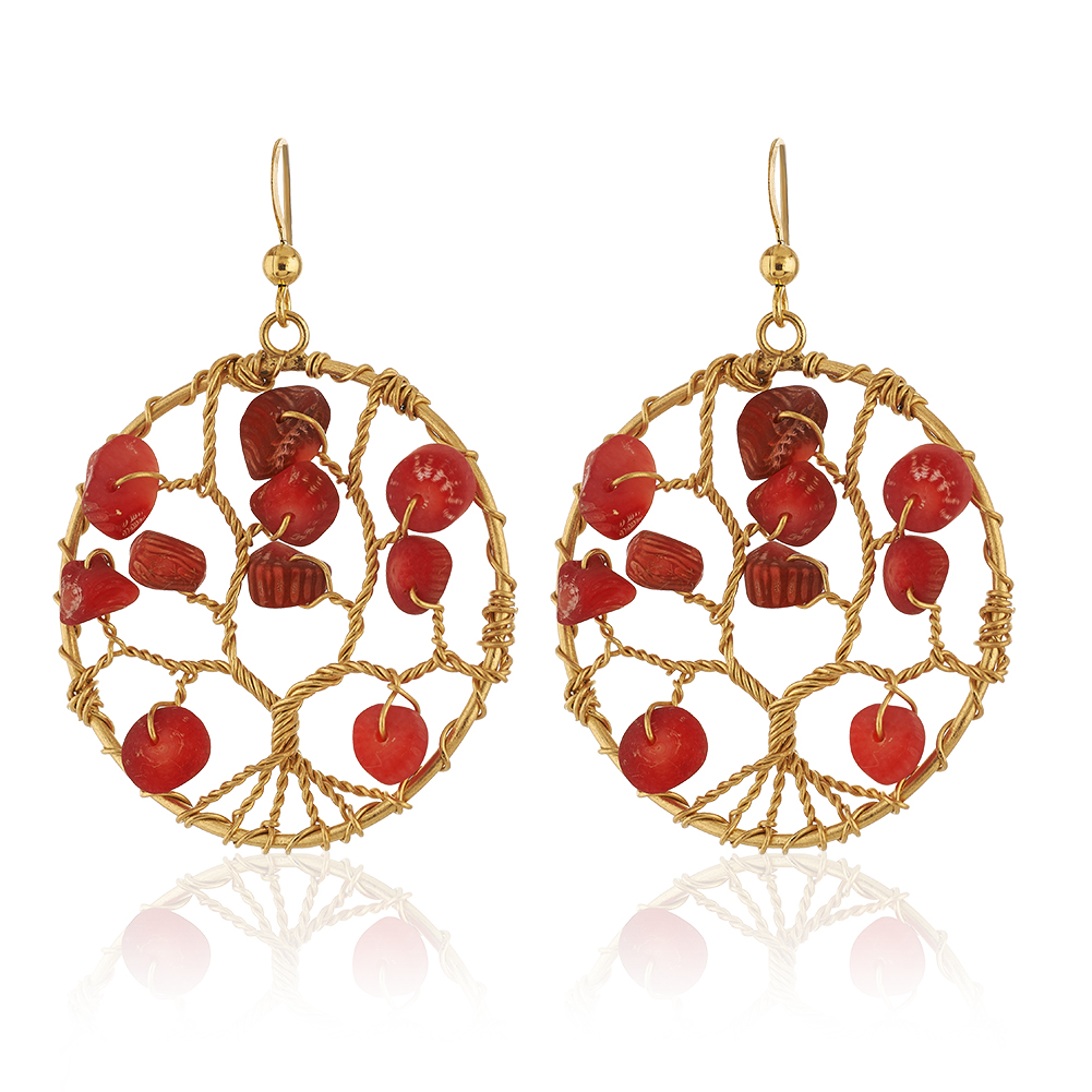 Handmade Gold-Plated Tree of Life Red Coral Beads Dangle Earrings, 58mm