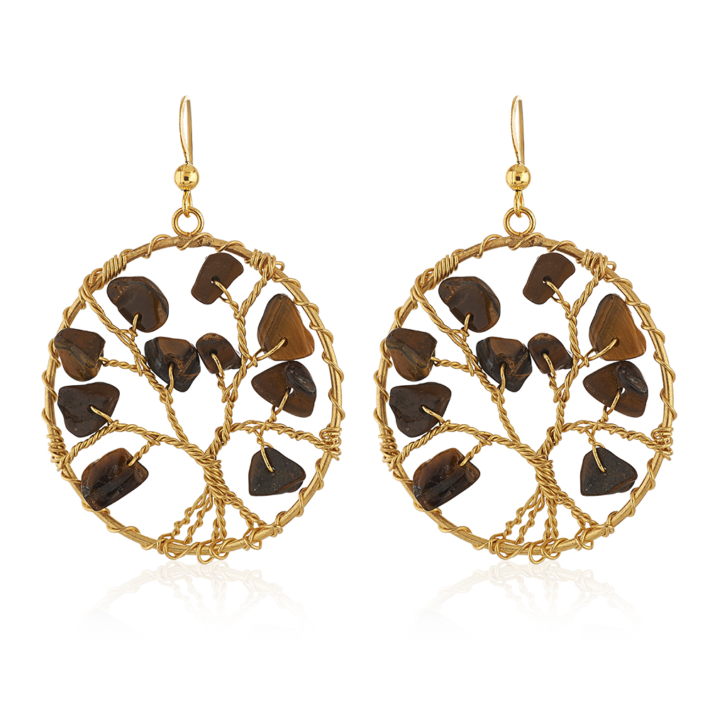 Handmade Gold-Plated Tree of Life Tiger Eye Gemstone Beads Dangle Earrings, 58mm