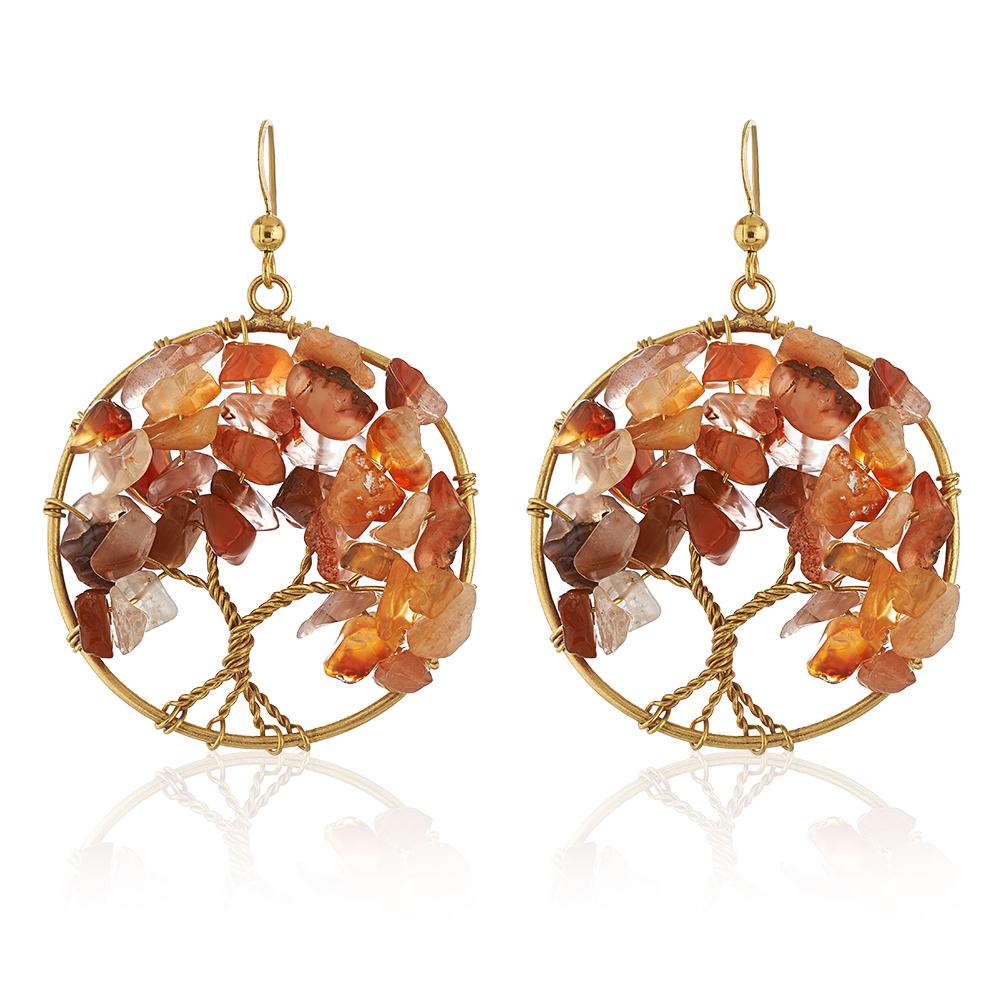 Handmade Gold-Plated Tree of Life Red Carnelian Gemstone Beads Dangle Earrings, 55mm