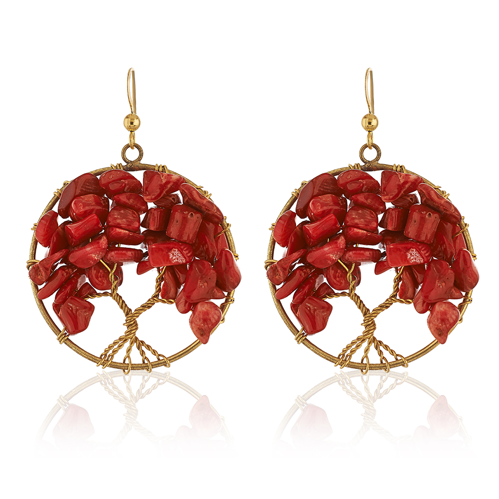 Handmade Gold-Plated Tree of Life Red Coral Beads Dangle Earrings, 55mm