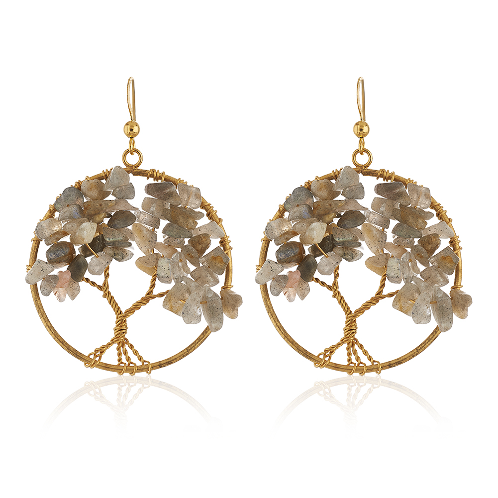 Handmade Gold-Plated Tree of Life Labradorite Gemstone Beads Dangle Earrings, 55mm