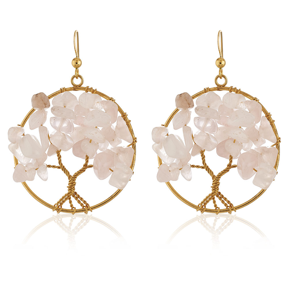 Handmade Gold-Plated Tree of Life Pink Rose Quartz Gemstone Beads Dangle Earrings, 55mm