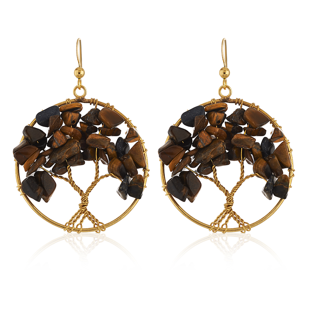 Handmade Gold-Plated Tree of Life Tiger Eye Gemstone Beads Dangle Earrings, 55mm