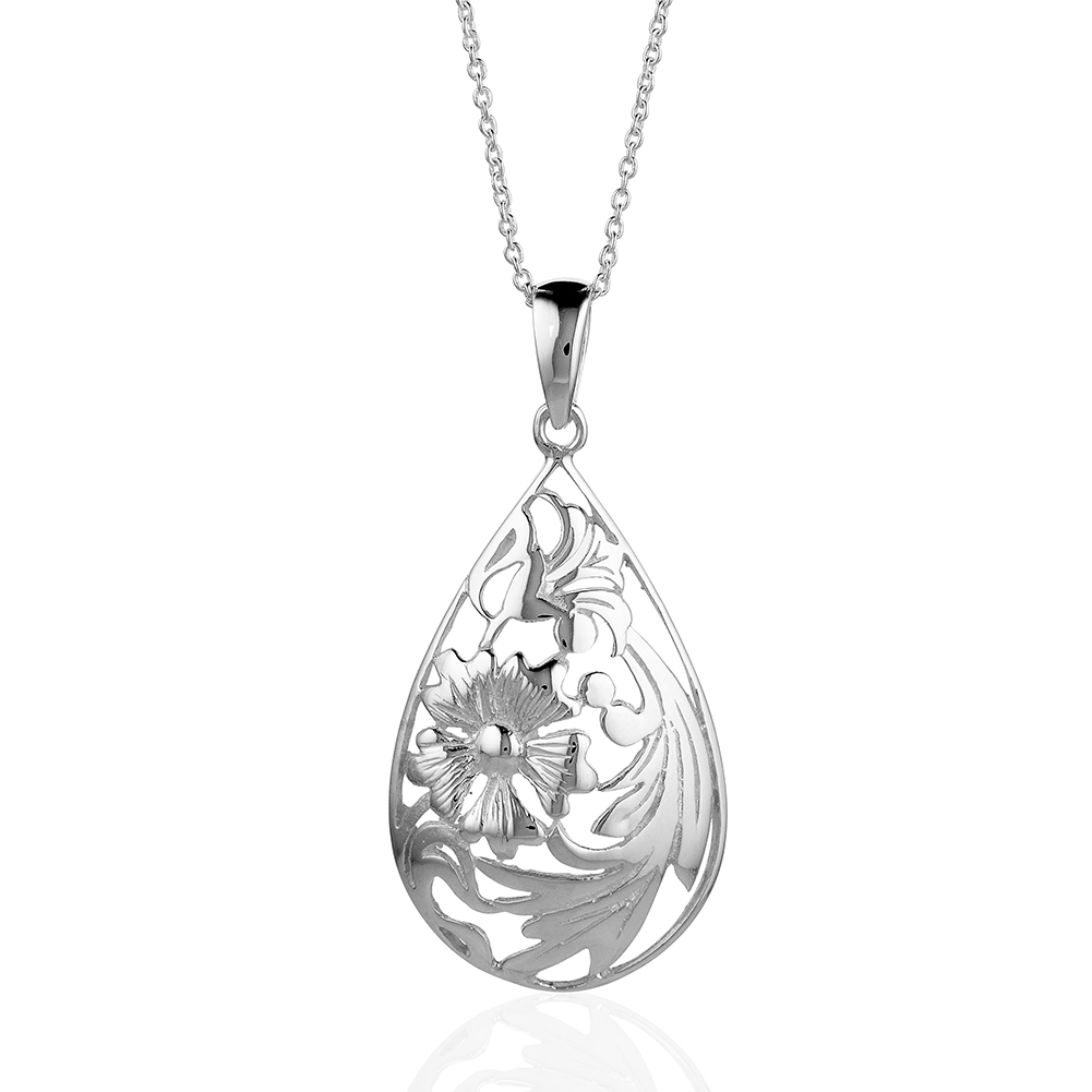 Nature Inspired Silver Floral/ Nature Teardrop Pendant Necklace, Nickel Free Jewelry For Women