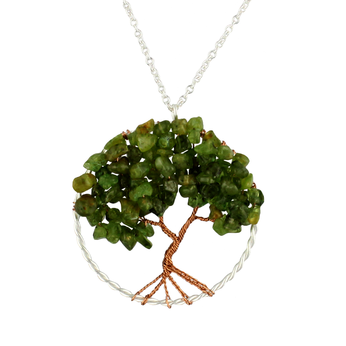 Silver-Plated Brass Copper Trunk Tree of Life Long Green Peridot Gemstone Necklace, 30 inches