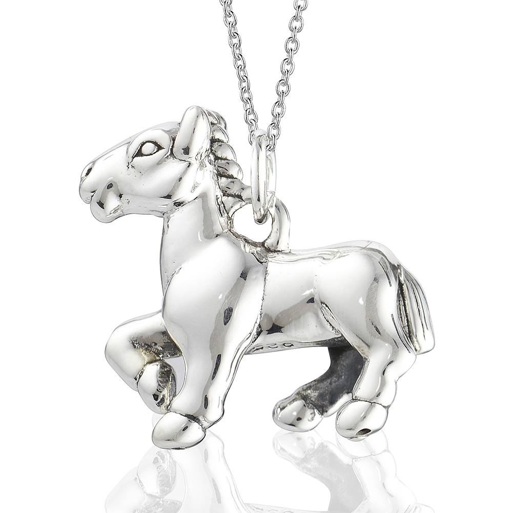 Equine, Equestrain Jewelry, Sterling 925 Horse, Pony Nickel Free Pendant Necklace- Girls, Teens